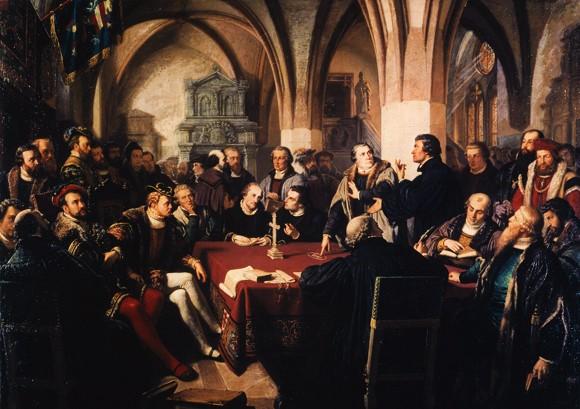 The Marburg Colloquy - 1529 - Christian Karl A., 1867. Original: Darmstadt, Hessisches Landesmuseum / GK 470 Standort bitte unbedingt angeben!; Foto: Hermann Buresch;
